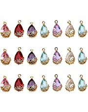 EXCEART 21 Pcs Birthstone Charm Pendant Crystal Beads Sterling Plated Brass for DIY Craft Necklace Bracelet Jewelry Making Accessories (Mixed Color)
