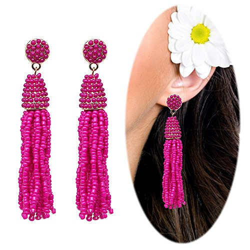 Hot Diamonds Diamond Huggie Earrings (Beaded Tassel Dangle Threader Drop Earrings Long Fringe Ethnic Ear Studs Women Linear Tribal Charms Jewelry Hot Pink)