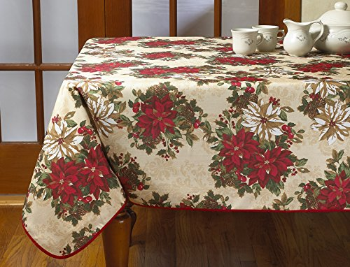 """Violet Linen European Holiday Christmas Poinsettia Garden Design Printed Tablecloth, 60"""" Round, Beige - Degrees up dinner. Or any meal. With this appealing tablecloth Kitchen accessory combines the soft, visual appeal of cotton with the durability of polyester Decorated with Christmas design. This tablecloth will add a festive feel to your table - tablecloths, kitchen-dining-room-table-linens, kitchen-dining-room - 51Wu8m0ifeL -"""