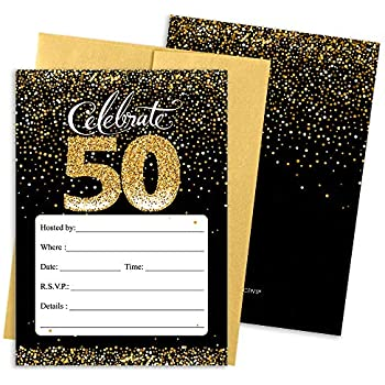 Amazon 50th birthday party invitation cards with envelopes 25 50th birthday party invitation cards with envelopes 25 count black and gold filmwisefo