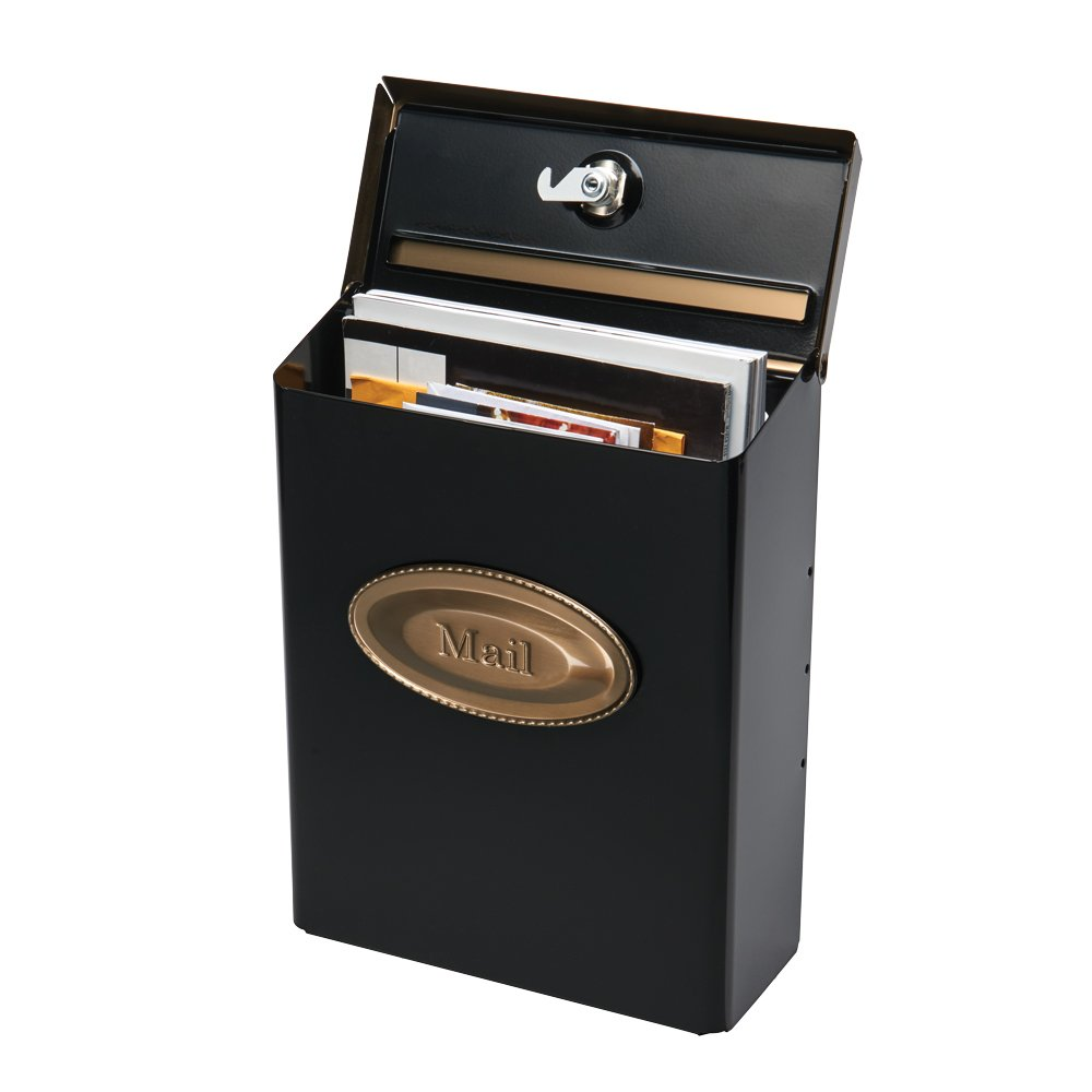 Gibraltar Mailboxes Designer Locking Medium Capacity Galvanized Steel Black, Wall-Mount Mailbox, DVKGB000 - - Amazon.com