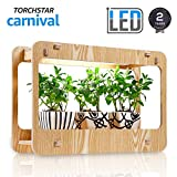 TORCHSTAR Plant Grow LED Light Kit, Indoor Herb Garden Light with Smart Timer Function, CRI 95+, Various Plants, DIY Decoration for Home Kitchen, Apartment, Office, 2 Years Warranty - Wood Grain