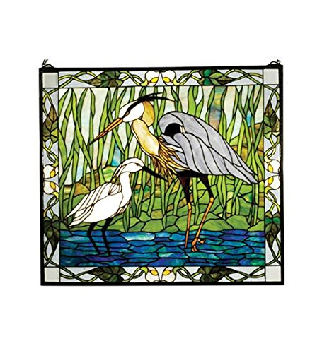 "Meyda Tiffany 62955 Blue Heron & Snowy Egret Stained Glass Window Panel, 30"" Width x 27"" Height"