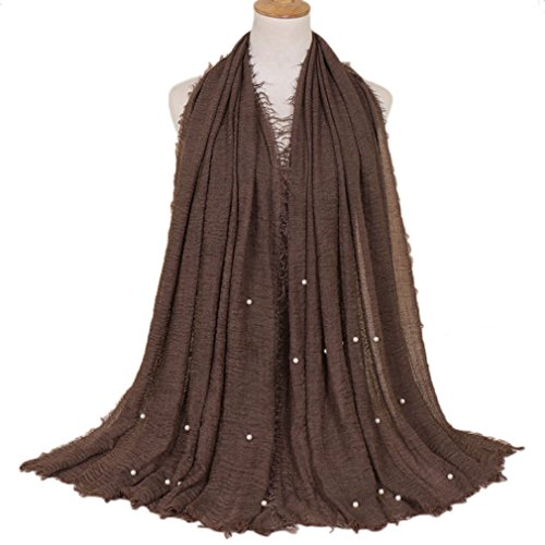 LMVERNA Women pearl wrinkle scarfs Maxi Scarf Cotton fashion long soft scarves (Dark - Scarf Viscose Brown