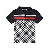 Budermmy Boys Turn-Down Collar Short Sleeve Polo Shirts Toddler Shirts Size 4t Black