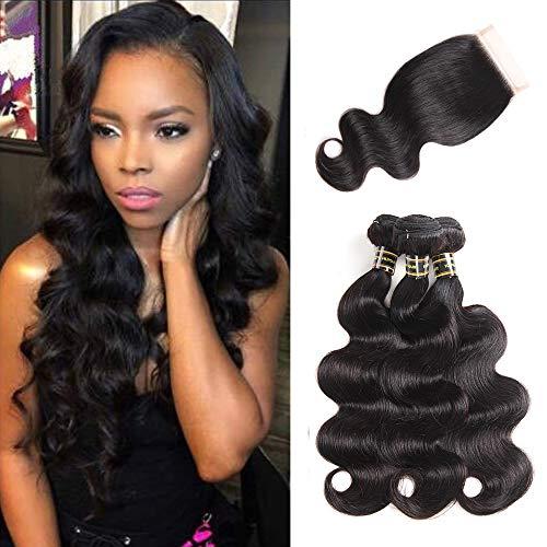 Aodai Body Wave Human Hair Bundles With Closure 8A 100% Unprocessed Virgin Hair Weave Brazilian Human Hair 3 Bundles With Lace Closure 4x4 Natural color(16 18 20+14)