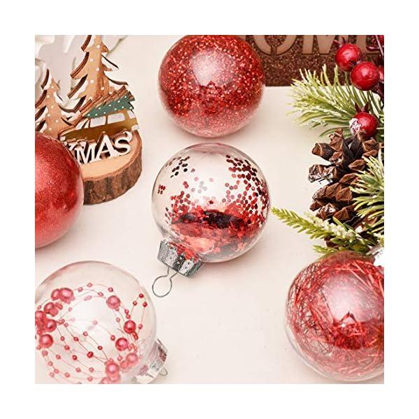 O-Kinee Palle di Natale Trasparenti,16 PCS Palle di Natale Palline Riempibili,Decorazione Natalizia Albero Natale,Decorazione Albero di Natale,per la Festa Compleanno Decorazioni di Nozze (16pcs) 3 spesavip