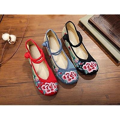 &hua Fleur de pivoine chaussures brodées, lin, semelle de tendon, style ethnique, chaussures féminines, mode, confortable