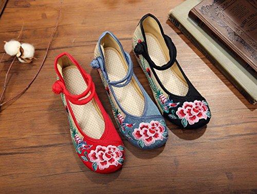 &hua Flor de peonía zapatos bordados, lino, lenguado de tendón, estilo étnico, zapatos femeninos, moda, cómodo Light Blue