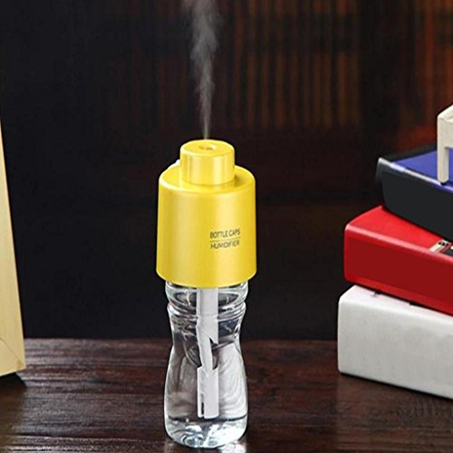 Mini Water Bottle Air Humidifier Vibola 280ML Home Small Tool Portable LED USB Cable Humidifier (A-Yellow)