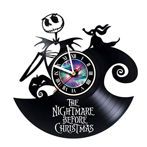 Nightmare before Christmas Incredible Vinyl Record Vintage Wall Clock - Room decor Unique Living Kitchen KidsRoom Wall Decor - Gift idea for children, teens, adults - Leave a feedback and win a clock!