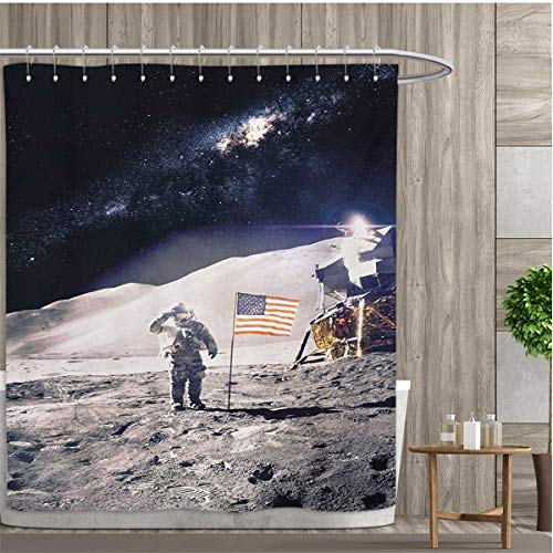 smallfly Space Patterned Shower Curtain Astronaut on Moon wi