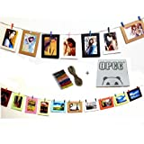 """OPCC Wall Deco DIY Paper Photo Frame with Mini Clothespins and Stickers - Fits 4""""x 6"""" Pictures,Multi-Color DIY Hanging Paper Photo Frames set of 10"""