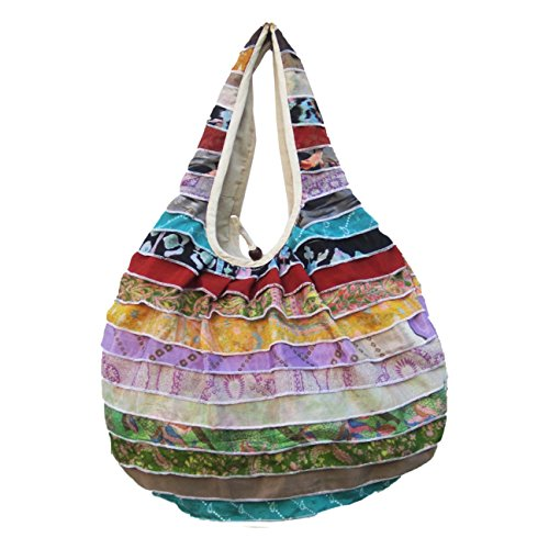 Recycled Silk Sari Purse - Round Shoulder Bag