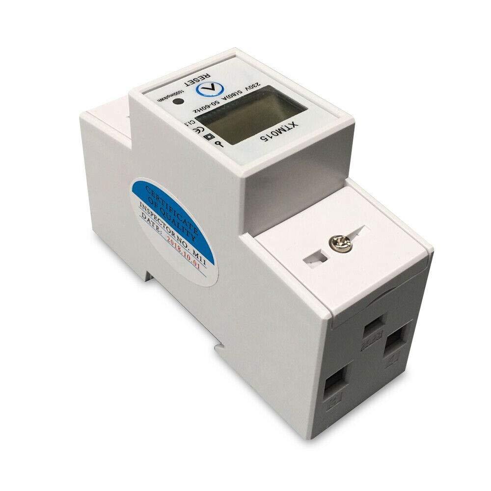 Compteur KWh Montage sur Rail DIN XTM015 Cozyel Compteur d/Énergie Monophas/é 5-80A 230V 50Hz Compteur d/Énergie Monophas/é de R/étro/éclairage LCD M/ètre Watt KWh 230V 5-80A 50Hz