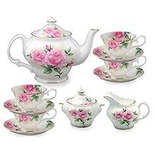 Gracie Bone China by Coastline Imports 11-Piece Tea Set, Pink Green Rose Bouquet
