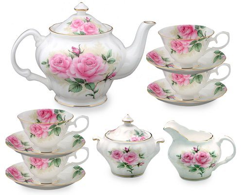 (Gracie Bone China 11-Piece Tea Set, Pink Green Rose Bouquet)