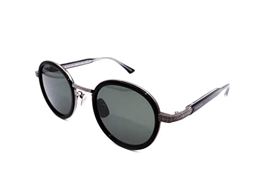 e4f9440071 Image Unavailable. Image not available for. Color  Gucci GG0067S Sunglasses  001 Ruthenium Black   Green ...