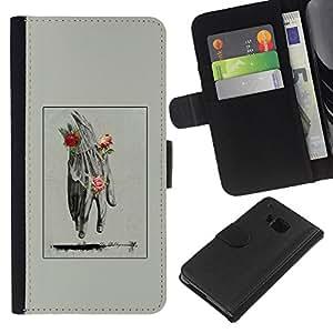 For HTC One M7 Case , Hand Man Spring Deep Meaning Rose - la tarjeta de Crédito Slots PU Funda de cuero Monedero caso cubierta de piel