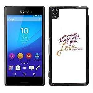 // PHONE CASE GIFT // Duro Estuche protector PC Cáscara Plástico Carcasa Funda Hard Protective Case for Sony Xperia M4 Aqua / Love Valentines Day White Text Quote /