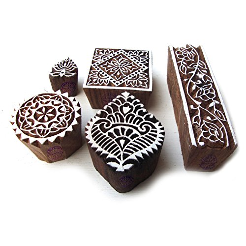 Hand Carved Square and Border Pattern Wood Block Print Stamps (Set of 5) by Royal Kraft