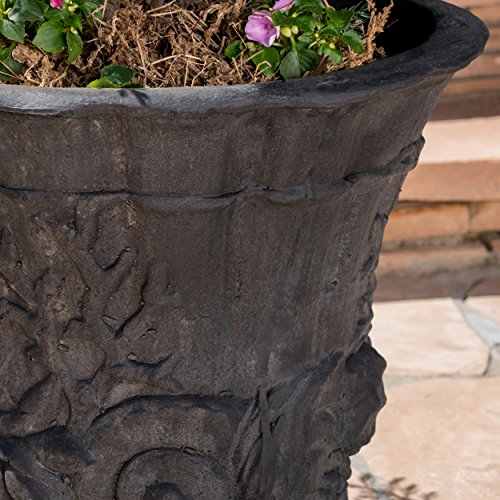 Great Deal Furniture Fern Outdoor Antique Black Finish Light Weight Concrete Urn by Great Deal Furniture (Image #2)