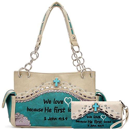 Western Embroidery Bible Verse Scripture Concealed Carry Purse Handbag Women Shoulder Bag Wallet Set Teal (Handbag Heart Winged)