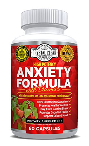 Anxiety Formula Stress Support Supplement, Herbal Blend Crafted To Keep Busy Minds Relaxed, Focused & Positive; Supports Serotonin Increase; Ashwagandha, Rhodiola Rosea, B Vitamins, Bacopa & More