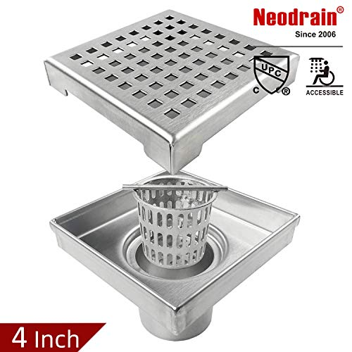 Neodrain Square Shower Drain with Removable Quadrato Pattern Grate, 4-Inch, Brushed 304 Stainless Steel, With WATERMARK&CUPC Certified, Includes Hair Strainer ()