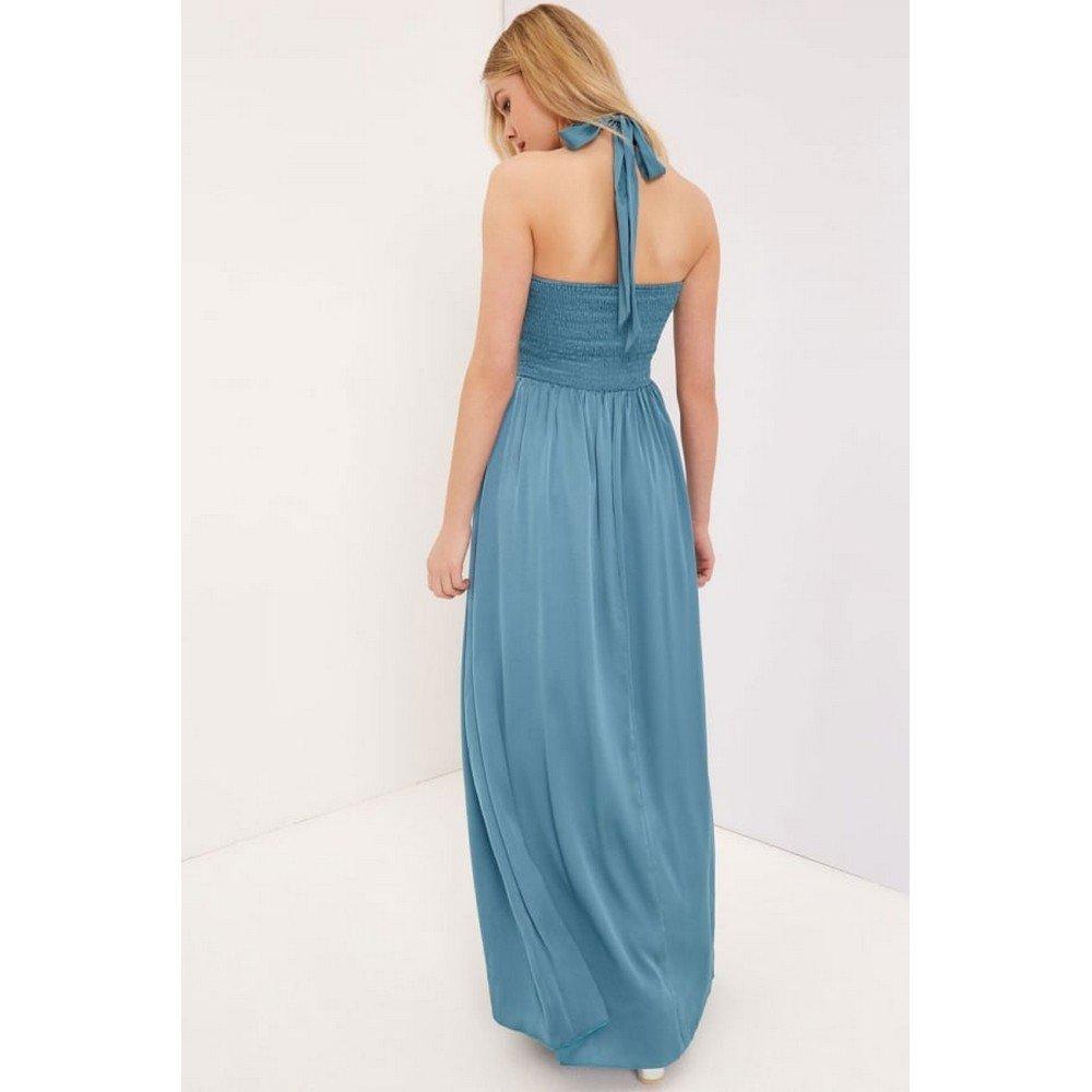 Little Mistress - Vestido largo con abertura en forma de cerradura para mujer (42/Azul petróleo): Amazon.es: Ropa y accesorios
