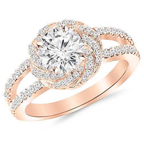 1.16 Carat t.w. 14K Rose Gold Round Pave Set Halo Style Floral Split Shank Diamond Engagement Ring H-I I2 Clarity Center Stones. - Split Shank Pave Diamond