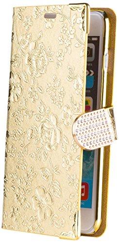 iCues Apple iPhone 6/6S PLUS Chrom Blume Buch - Gold - Exklusives Design mit eingelassenen Strass Steinen + Displayschutz