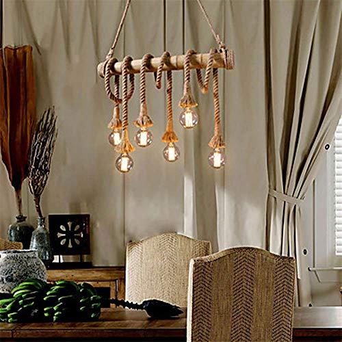 LED Hemp Rope Shot 6 Lamp Group Chandelier Environment Lamp Other Metal Retro Mini Style 60W Pendant Light (Chandelier Nautical Rope)