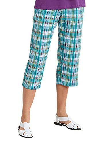 Seersucker Plaid Capri, Color Turquoise, Size Large, Turquoise, Size Large ()