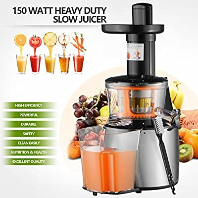 SUNCOO 150W Heavy Duty Slow Juicer Machine Fruit Vegetable Vitamin Extractor 11.8 x 8.7x 15.9 Black