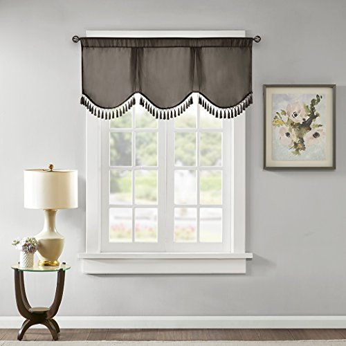"Evelyn Scallop Embellished Rod Pocket Valance , Faux Silk Valances for Window , 50X21"" , Pewter"