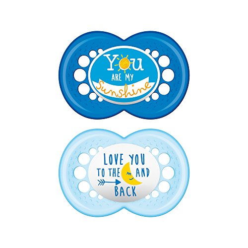 MAM Pacifiers, Baby Pacifier 6+ Months, Best Pacifier for Breastfed Babies, 'Attitude Design Collection, Boy, 2-Count