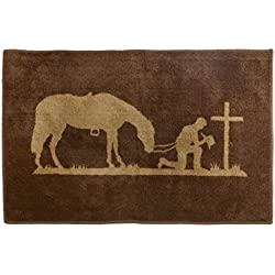 "HiEnd Accents Western Praying Cowboy Kitchen and Bath Rug, 24"" x 36"""