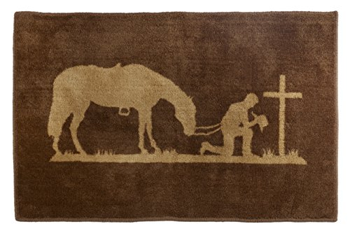 """HiEnd Accents Western Praying Cowboy Kitchen and Bath Rug, 24"""" x 36"""""""