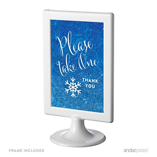 Andaz Press Birthday and Baby Shower Framed Party Sign, Double-Sided 4x6-Inch, Please Take One Party Favors Table Signage, Frozen Snowflake, 1-Pack, Includes Frame