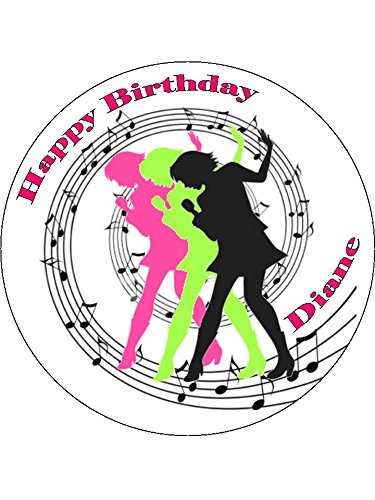 Novelty Personalised Singer / Pop Star Silhouettes & Music Notes 7.5