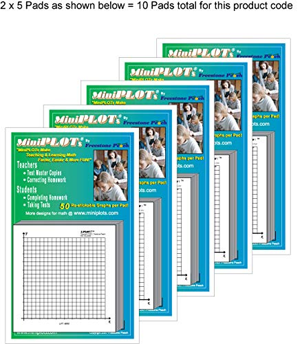 MiniPLOT Graph Paper Pads 10 Pads Of 3x3 Inch Adhesive Backed XY