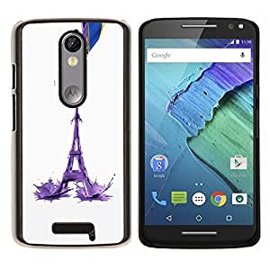 LECELL--Funda protectora / Cubierta / Piel For Motorola MOTO X3 3rd -- Torre Eiffel Leche Resumen --