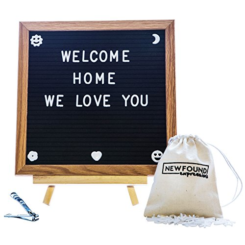 Premium Announcement Board - Black Felt Letter Board Set Decorative Hanging 10x10 Oak Wooden Frame with Plastic Changeable Letters for Personalized Message - Bonus Stand and Hassle-Free Clippers
