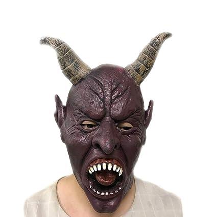 Emorias 1 Pcs Máscara de Halloween Diablo Fantasma Látex Cabeza Maquillaje Fiesta de Baile