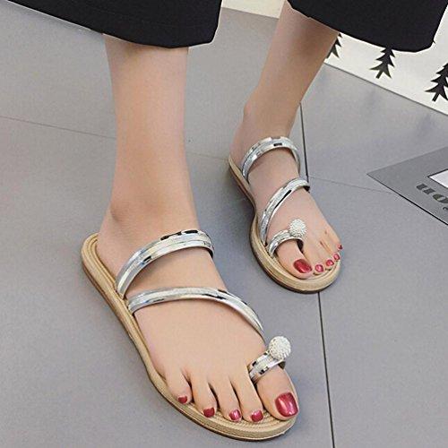 Transer® Damen Peep-Toe Flach Slipper mit Perle Gurt Schwarz Silber Outdoor Mode Leder+Gummi Hausschuhe Silber