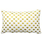 Bedding Sofa Gold Metallic Faux Foil Hearts Polka Dot Heart Throw Pillowcases Soft Comfortable 20* 30 Pillowcase