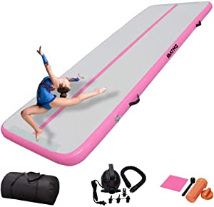 DAIRTRACK IBATMS Air Tumble Track Mat,10ft/13ft/16ft/20ft Inflatable Gymnastics Air Mat for Gymnastics Training/Home Use/Cheerleading/Yoga/Water