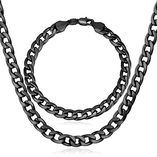 (U7 Men Chunky Jewelry Set 7MM Wide Big Chain Gun Black Metal Plated Cuban Curb Link Bracelet Necklace Set,8.3