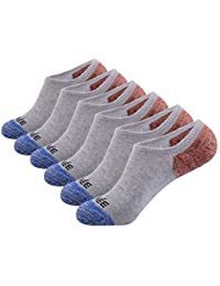 Men's 6 Pack Casual Cushion Anti-Slid Cotton No Show Socks with Silicone